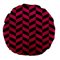 Chevron1 Black Marble & Pink Leather Large 18  Premium Flano Round Cushions by trendistuff