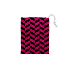 Chevron1 Black Marble & Pink Leather Drawstring Pouches (xs)  by trendistuff