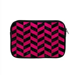 Chevron1 Black Marble & Pink Leather Apple Macbook Pro 15  Zipper Case by trendistuff