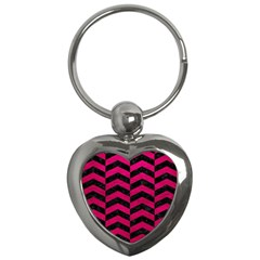 Chevron2 Black Marble & Pink Leather Key Chains (heart)  by trendistuff