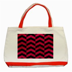 Chevron2 Black Marble & Pink Leather Classic Tote Bag (red)