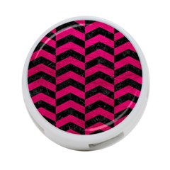Chevron2 Black Marble & Pink Leather 4 Port Usb Hub (one Side) by trendistuff