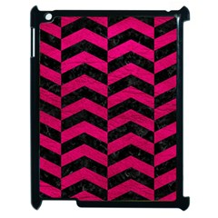 Chevron2 Black Marble & Pink Leather Apple Ipad 2 Case (black) by trendistuff