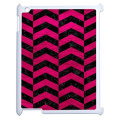 Chevron2 Black Marble & Pink Leather Apple Ipad 2 Case (white) by trendistuff