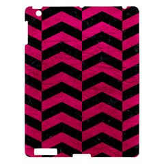 Chevron2 Black Marble & Pink Leather Apple Ipad 3/4 Hardshell Case by trendistuff