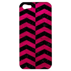 Chevron2 Black Marble & Pink Leather Apple Iphone 5 Hardshell Case by trendistuff