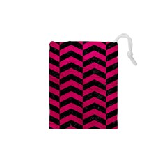 Chevron2 Black Marble & Pink Leather Drawstring Pouches (xs)