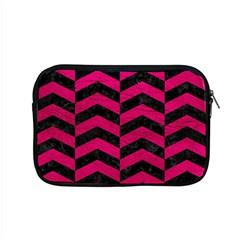 Chevron2 Black Marble & Pink Leather Apple Macbook Pro 15  Zipper Case by trendistuff