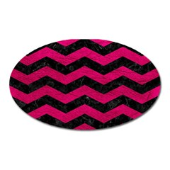 Chevron3 Black Marble & Pink Leather Oval Magnet by trendistuff