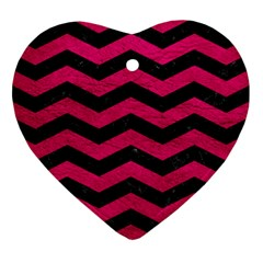 Chevron3 Black Marble & Pink Leather Heart Ornament (two Sides) by trendistuff