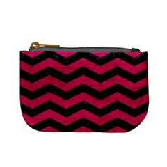 Chevron3 Black Marble & Pink Leather Mini Coin Purses by trendistuff