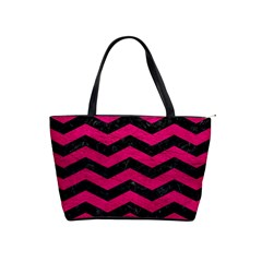 Chevron3 Black Marble & Pink Leather Shoulder Handbags by trendistuff