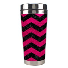 Chevron3 Black Marble & Pink Leather Stainless Steel Travel Tumblers by trendistuff