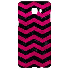 Chevron3 Black Marble & Pink Leather Samsung C9 Pro Hardshell Case  by trendistuff