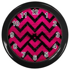 Chevron9 Black Marble & Pink Leather Wall Clocks (black) by trendistuff