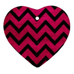Chevron9 Black Marble & Pink Leather Heart Ornament (two Sides) by trendistuff