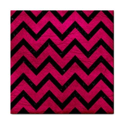 Chevron9 Black Marble & Pink Leather Face Towel by trendistuff