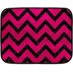 Chevron9 Black Marble & Pink Leather Double Sided Fleece Blanket (mini)  by trendistuff