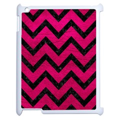 Chevron9 Black Marble & Pink Leather Apple Ipad 2 Case (white) by trendistuff