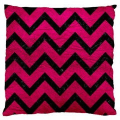 Chevron9 Black Marble & Pink Leather Large Cushion Case (two Sides) by trendistuff