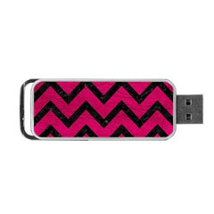 Chevron9 Black Marble & Pink Leather Portable Usb Flash (one Side) by trendistuff