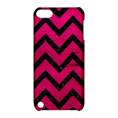 Chevron9 Black Marble & Pink Leather Apple Ipod Touch 5 Hardshell Case With Stand by trendistuff