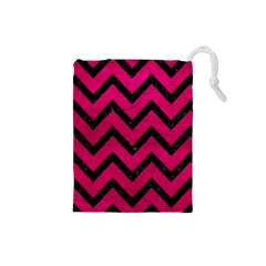 Chevron9 Black Marble & Pink Leather Drawstring Pouches (small)  by trendistuff