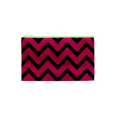 Chevron9 Black Marble & Pink Leather Cosmetic Bag (xs) by trendistuff