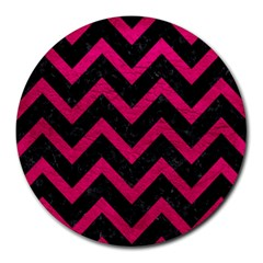 Chevron9 Black Marble & Pink Leather (r) Round Mousepads by trendistuff