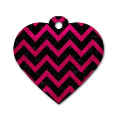 Chevron9 Black Marble & Pink Leather (r) Dog Tag Heart (one Side) by trendistuff