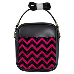 Chevron9 Black Marble & Pink Leather (r) Girls Sling Bags by trendistuff
