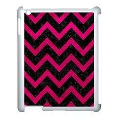 Chevron9 Black Marble & Pink Leather (r) Apple Ipad 3/4 Case (white) by trendistuff