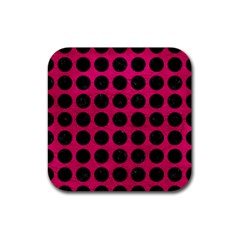 Circles1 Black Marble & Pink Leather Rubber Square Coaster (4 Pack)  by trendistuff