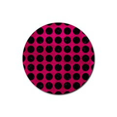 Circles1 Black Marble & Pink Leather Rubber Coaster (round)  by trendistuff
