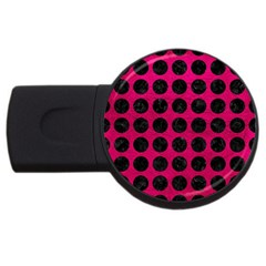 Circles1 Black Marble & Pink Leather Usb Flash Drive Round (2 Gb) by trendistuff