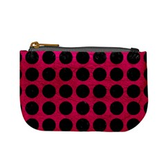 Circles1 Black Marble & Pink Leather Mini Coin Purses by trendistuff