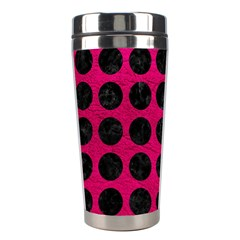 Circles1 Black Marble & Pink Leather Stainless Steel Travel Tumblers by trendistuff