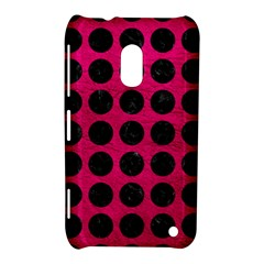 Circles1 Black Marble & Pink Leather Nokia Lumia 620 by trendistuff