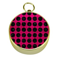 Circles1 Black Marble & Pink Leather Gold Compasses by trendistuff