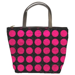 Circles1 Black Marble & Pink Leather (r) Bucket Bags by trendistuff