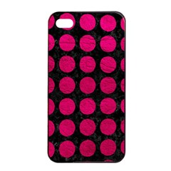 Circles1 Black Marble & Pink Leather (r) Apple Iphone 4/4s Seamless Case (black) by trendistuff