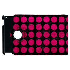 Circles1 Black Marble & Pink Leather (r) Apple Ipad 2 Flip 360 Case by trendistuff
