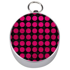 Circles1 Black Marble & Pink Leather (r) Silver Compasses by trendistuff