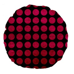 Circles1 Black Marble & Pink Leather (r) Large 18  Premium Flano Round Cushions by trendistuff