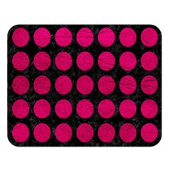 Circles1 Black Marble & Pink Leather (r) Double Sided Flano Blanket (large)