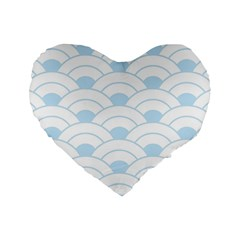 Blue,white,shell,pattern Standard 16  Premium Flano Heart Shape Cushions by 8fugoso