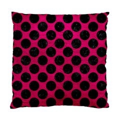 Circles2 Black Marble & Pink Leather Standard Cushion Case (one Side) by trendistuff