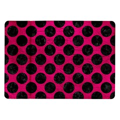 Circles2 Black Marble & Pink Leather Samsung Galaxy Tab 10 1  P7500 Flip Case by trendistuff