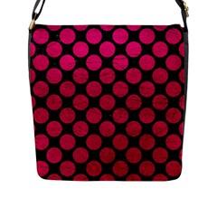 Circles2 Black Marble & Pink Leather (r) Flap Messenger Bag (l)  by trendistuff