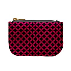 Circles3 Black Marble & Pink Leather (r) Mini Coin Purses by trendistuff